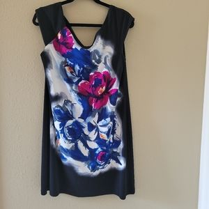 London Times black dress with floral print